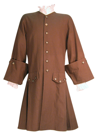 Pirate Coat by White Pavilion, front view. This coat is ideal for pirate costumes, colonial costumes, French & Indian War or Revolutionary War costumes.
