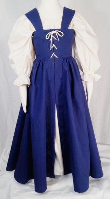 Girl's Princess Gown, front. Perfect for Renaissance costumes or Medieval costumes: Maid Marion costumes, fairy costumes, and princess character costumes. Also easily adaptable for living history events.