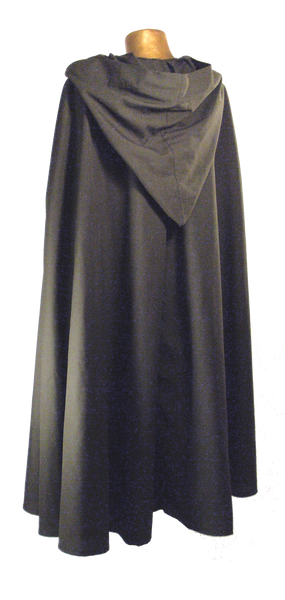 Questor Cape by White Pavilion, back view. This is ideal for medieval, renaissance, pirate, reenactor, Victorian, Steampunk, Goth and vampire costumes.