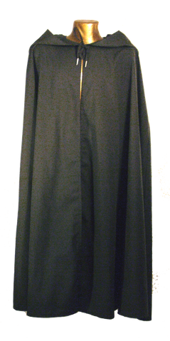 Questor Cape by White Pavilion, front view. This is ideal for medieval, renaissance, pirate, reenactor, Victorian, Steampunk, Goth and vampire costumes.