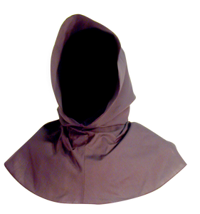 Ranger's Hood from White Pavilion Costumes, front view. This hood is perfect for medieval, fantasy, elf, grim reaper, executioner, Ringwraith or Nazgul, Christmas Past, vampire, Halloween and other costumes.