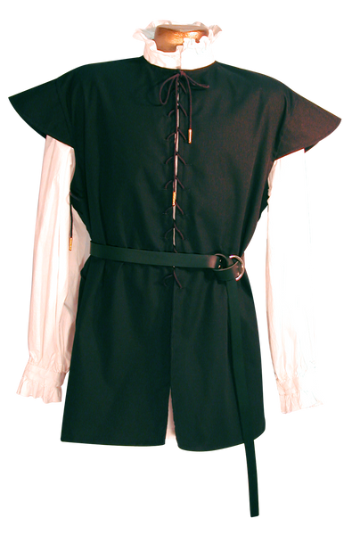 The Seadog Doublet by White Pavilion, front view w/ Swordsman Belt. Our doublet is perfect for medieval costumes, pirate costumes and renaissance costumes.