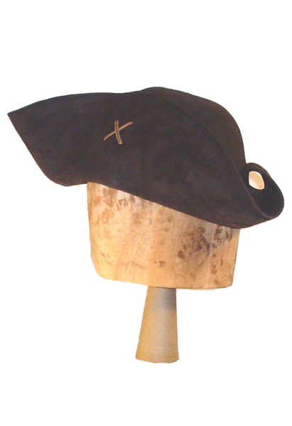 The Sparrow Tricorne by White Pavilion, side view. This is the ideal hat for Jack Sparrow fans.