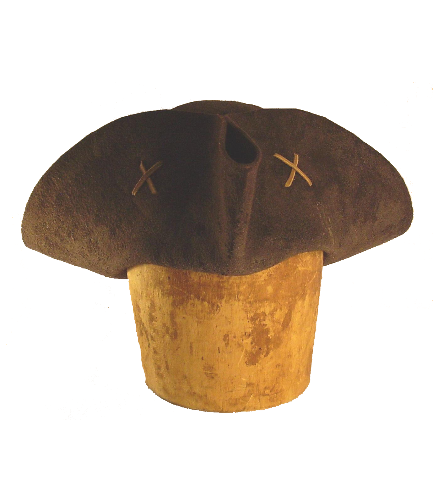 The Sparrow Tricorne by White Pavilion, front view. This is the ideal hat for Jack Sparrow fans.