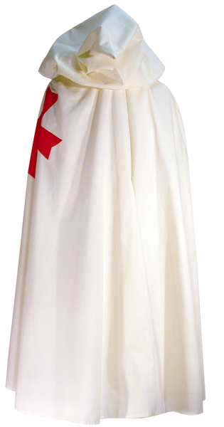 Templar Knight Cape by White Pavilion, back view. This is the perfect companion to our Templar Tunic, and essential to any Templar Knight costume.