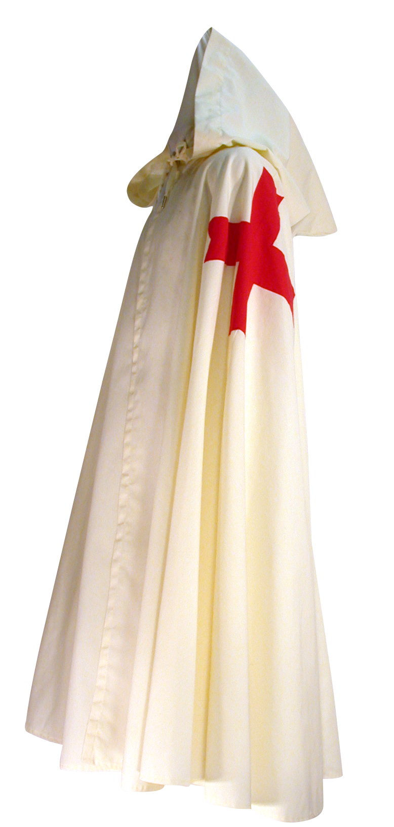 Templar Knight Cape by White Pavilion, side view. This is the perfect companion to our Templar Tunic, and essential to any Templar Knight costume.