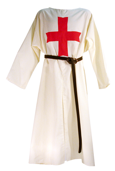 Medieval Templar Knight Tunic by White Pavilion, front view w/sword belt. This is the ideal companion to our Medieval Templar Knight Cape and essential for any Medieval Templar Knight costume.