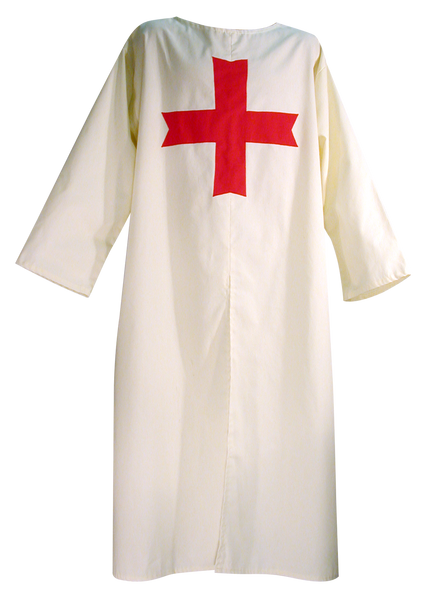 Medieval Templar Knight Tunic by White Pavilion, front view. This is the ideal companion to our Medieval Templar Knight Cape and essential for any Medieval Templar Knight costume.