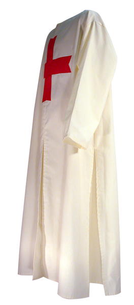 Medieval Templar Knight Tunic by White Pavilion, side view. This is the ideal companion to our Medieval Templar Knight Cape and essential for any Medieval Templar Knight costume.