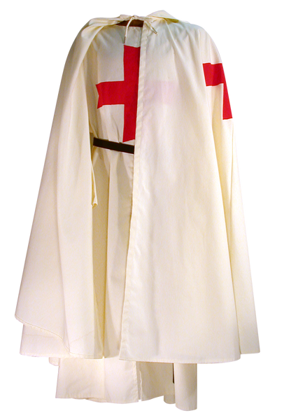 Medieval Templar Knight Tunic by White Pavilion, shown with Medieval Templar Knight Cape. Essential for any Medieval Templar Knight costume.