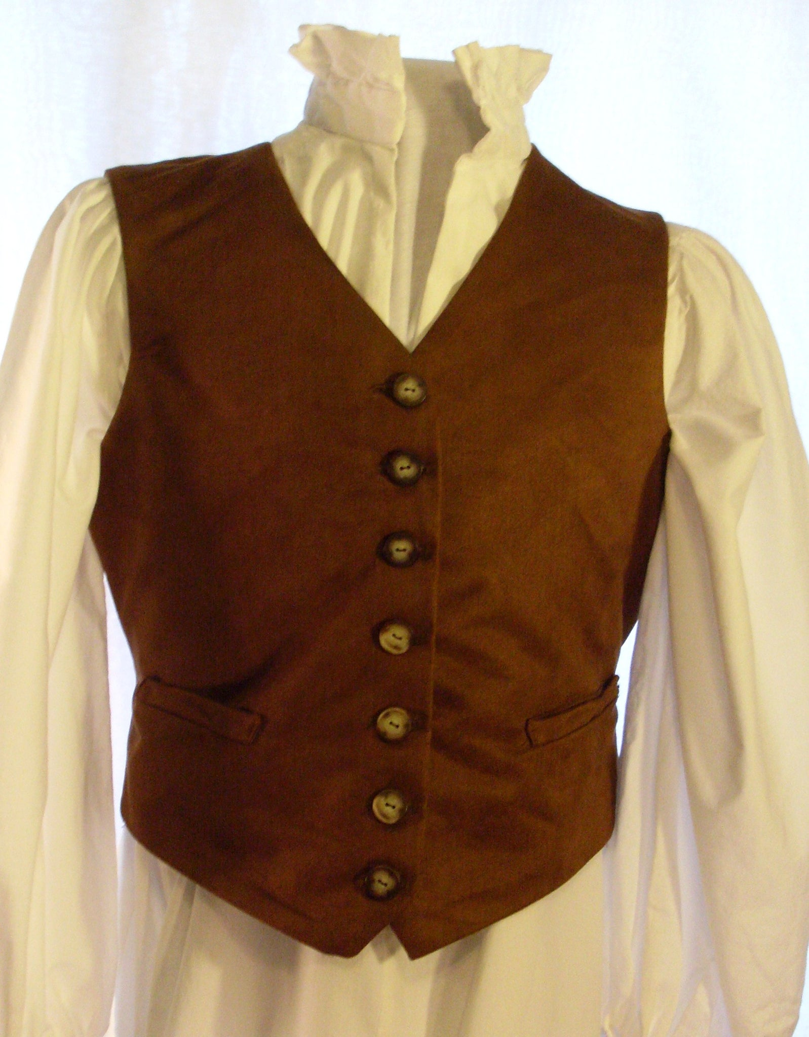 Gent's Vest by White Pavilion, front view. This vest is perfect for steampunks, cowboys, any 1800's living history, and hobbits.