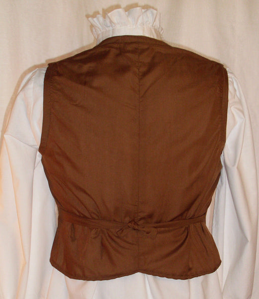 Gent's Vest by White Pavilion, back view. This vest is perfect for steampunks, cowboys, any 1800's living history, and hobbits.