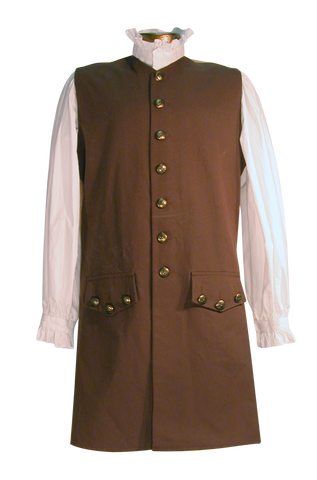 18th century waistcoat from White Pavilion, front view. This is ideal for pirates, colonials, 17th and 18th century costumes, and Revolutionary War and French and Indian War reenactors.