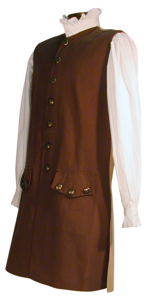 18th century waistcoat from White Pavilion, side-front view. This is ideal for pirates, colonials, 17th and 18th century costumes, and Revolutionary War and French and Indian War reenactors.