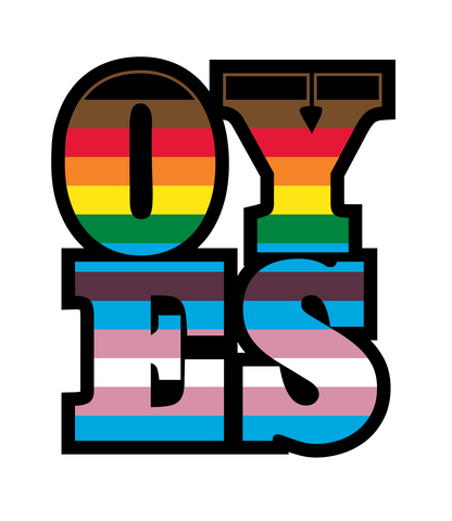 The acronym OYES in the LGBTQA+ colors
