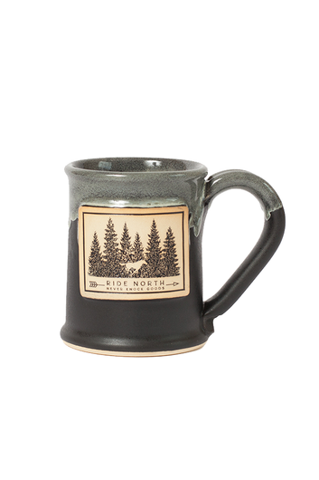 Never Knock Mug Handmade in Minnesota featuring our Ride North logo