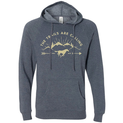 """Trails are Calling"" Pullover Heather Navy with Yellow Ink"