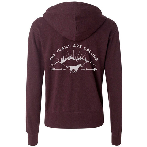 """Trails are Calling"" Zip-Up - Wine"