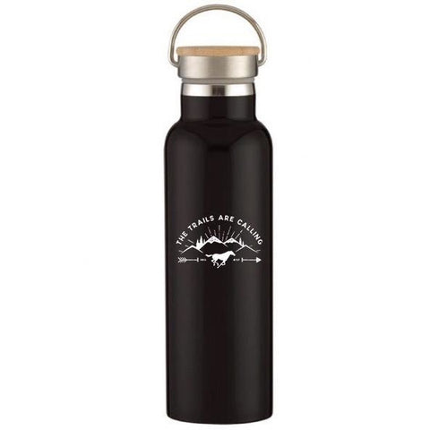 "Black hot/cold water bottle with wooden top and featuring the populare ""Trails are Calling"" Design with horse and mountains in background."