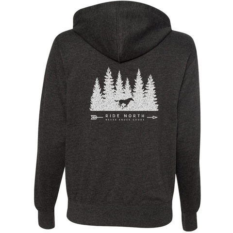The perfect horse themed zip-up hoodie to wear while horseback riding, out with your barn friends or adding a layer while doing stable chores.