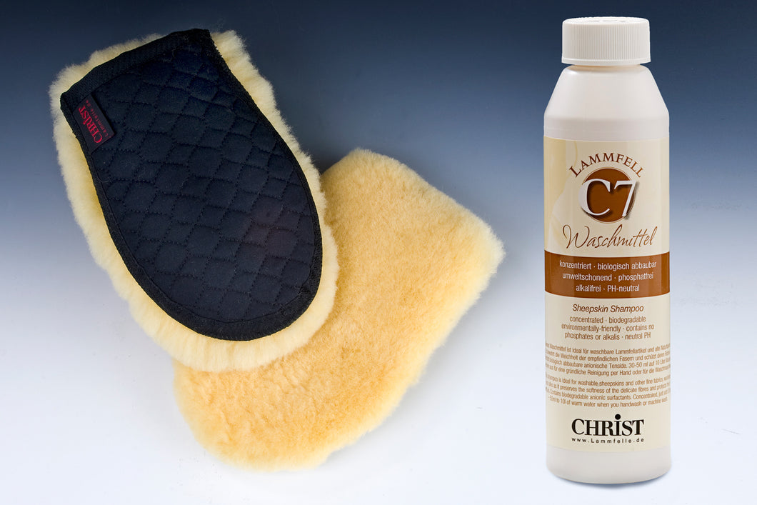 Sheep Skin Horse Grooming Glove and C7 Detergent