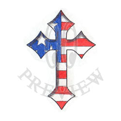 USA Flag Inlay Cross