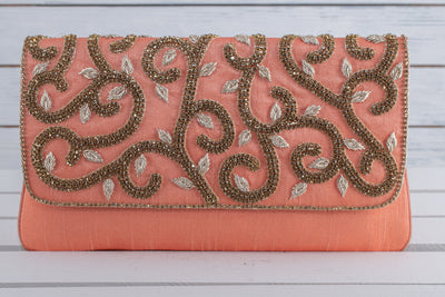 Peach embellished purse