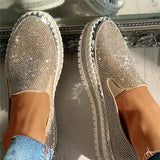 Lovinchic Women Casual Fashion Rhinestone Slip-on Loafers/ Sneakers