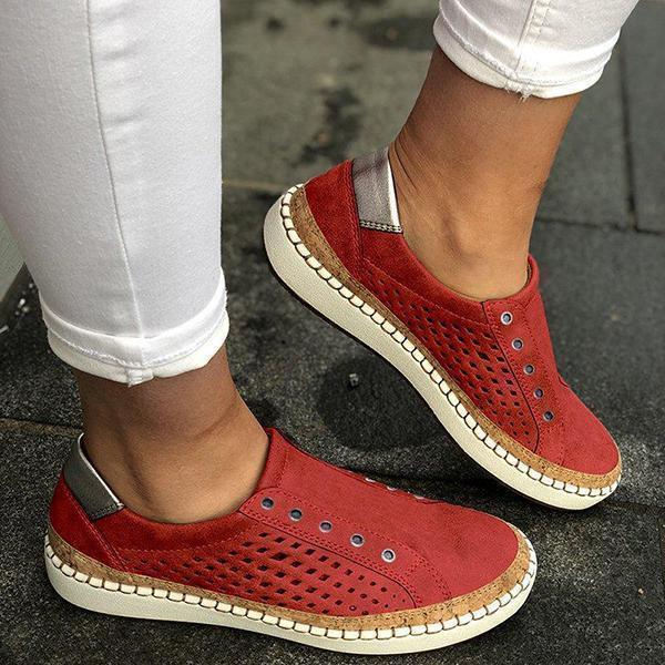 Lovinchic Women Casual Slip On Hollow-Out Sneakers