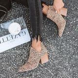 Blisshoes Fashion Stylish Pointed Toe Leopard Booties(Ship in 24 Hours)
