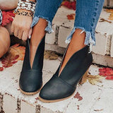 Lovinchic Fashion Faux Leather Slip-on Boots