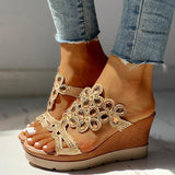 Blisshoes Studded Platform Wedge Casual Slingback Sandals