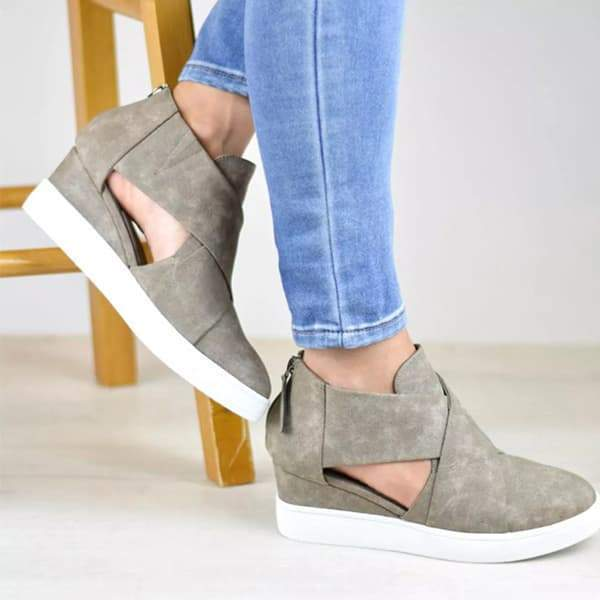 Blisshoes Criss-cross Cut-out Wedge Sneakers