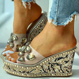 Blisshoes Open Toe Studded Rivet Heeled Sandals