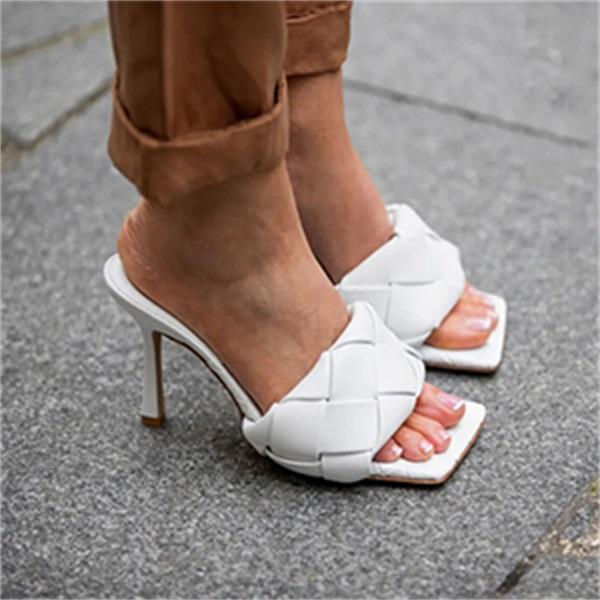 Lovinchic Square Open Toe Heeled Woven Leather Mule Slip On Quilted High Heels