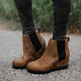 Lovinchic Women Fashion Chelsea Wedge Boots