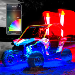 XK Glow UTV, RZR, X3 Jeep LED Whip Light Kit, XKChrome App Controlled