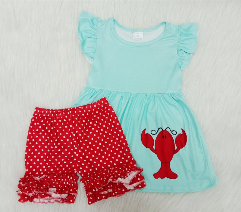 Girls Polka Dot Lobster Short Set