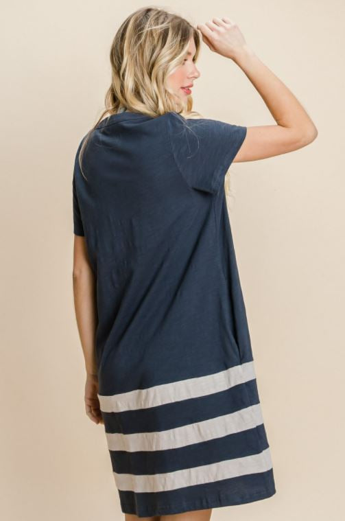 Washed Navy Color Blocked Shift Dress