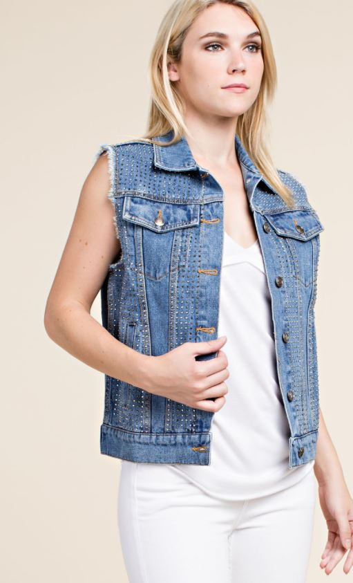Jean Vest With Stone Embellishment