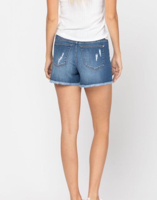 Judy Blue Mid-Rise Leopard Patch Shorts