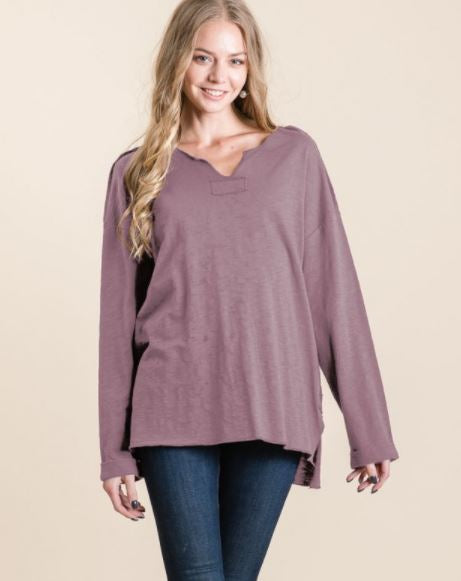 Washed Cotton Slub Patch Top