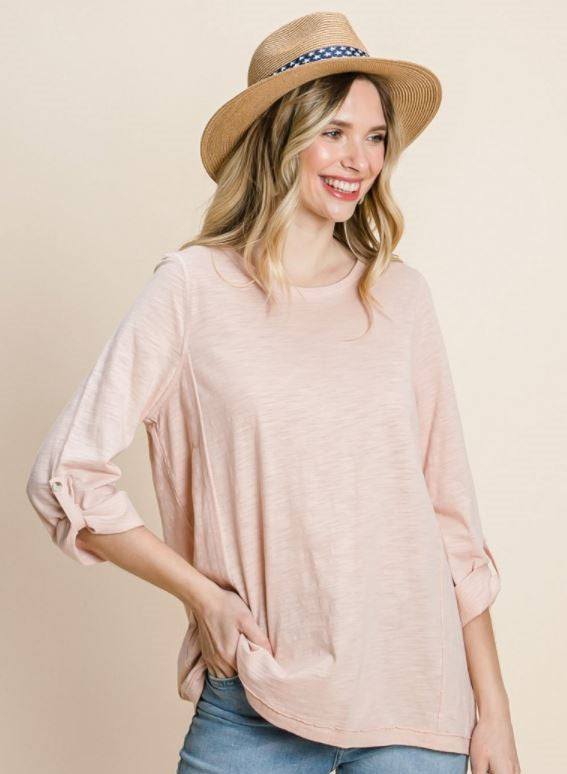Washed Cotton Slub Foldable Sleeve Top