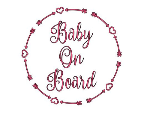 Baby On Board Hearts Decal