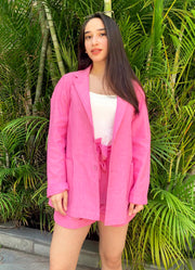 Ridhi's power pink chambray blazer