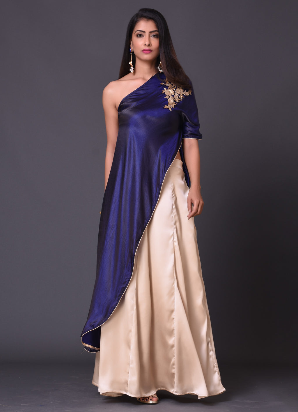 Navy One Shoulder Cape