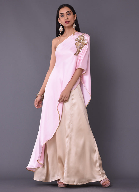 Rose Pink One Shoulder Cape