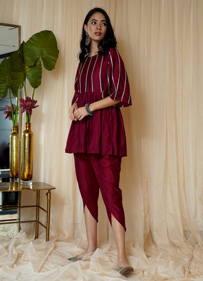 Bahaar Deep Berry Tulip Pants