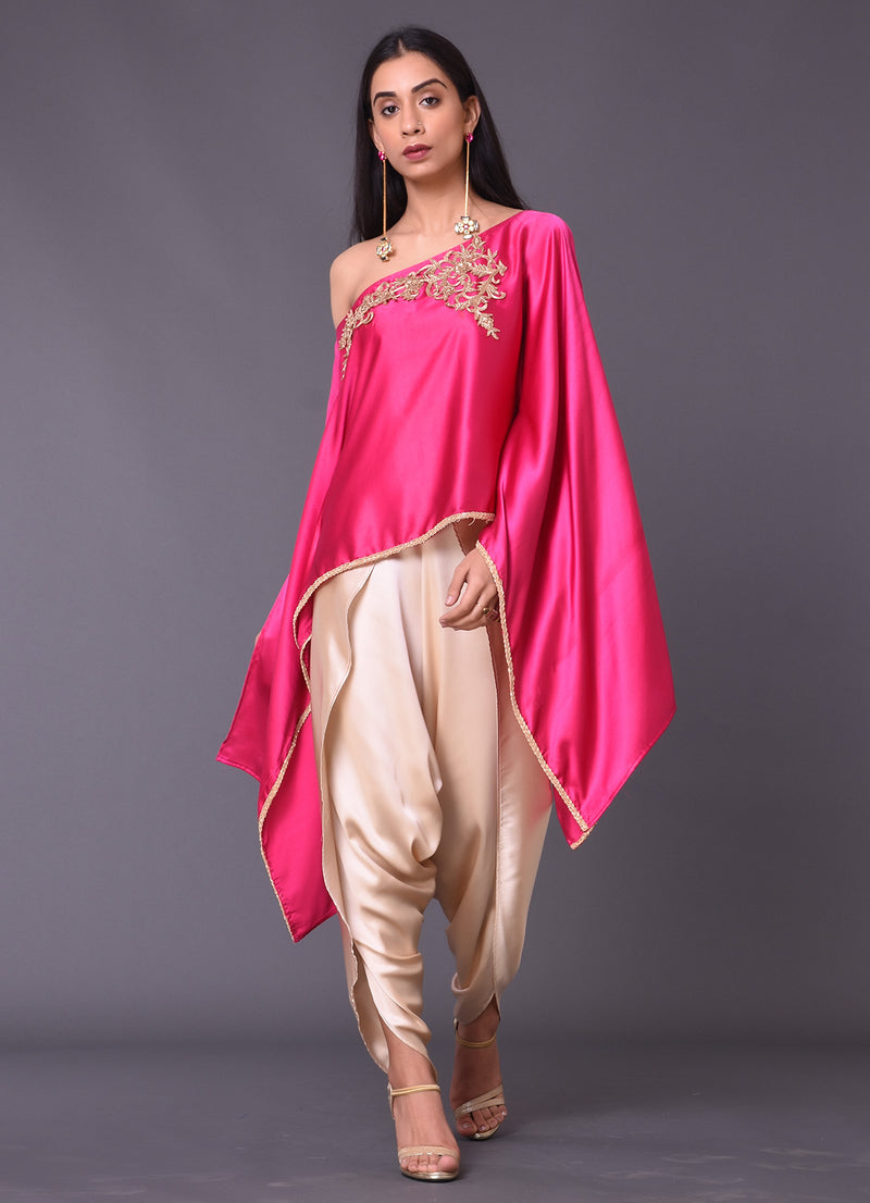 Fuchsia Embellished Cape