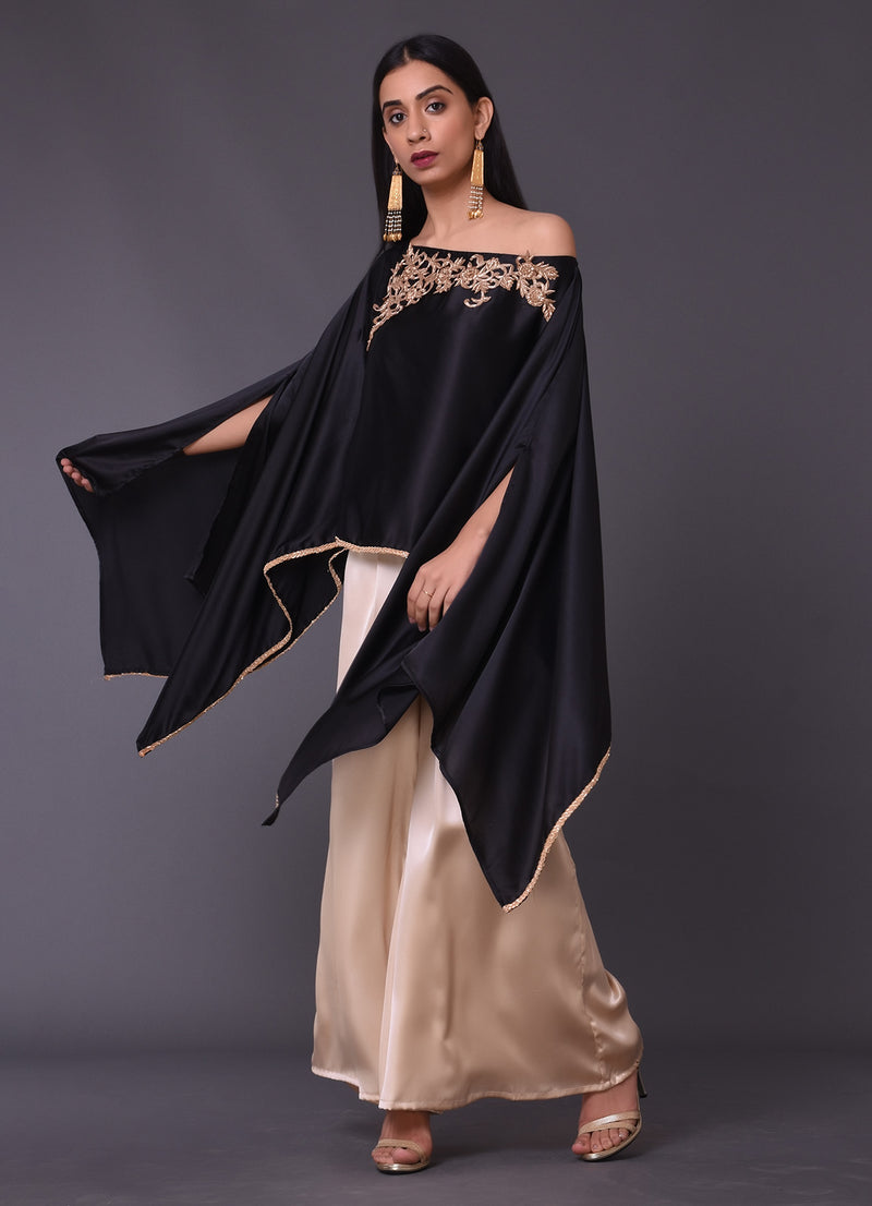 Black Embellished Cape